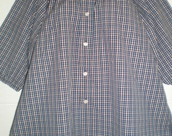 Peasant Blouse upcycled from a men's shirt, 54 inch, Large, blue and red check