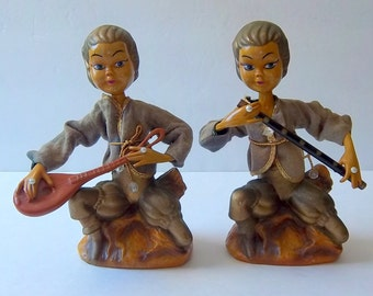 RARE Exotic Fairy - Genie - Lute and Flute Elf Musicians Pair - Pixie Figurines - Gypsy Minstrels - Trending Global Home Decor
