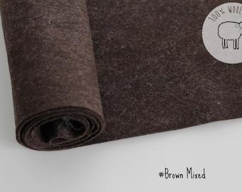 """Heathered felt brown, pure wool felt fabric roll, dark brown felt,  20cm x 91cm - 1 - 1.5mm - 1 yard long by 9"""" wide, Ships from Ireland"""