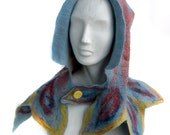 RESERVED for MATT - Nunofelted Scarf in Red Yellow Blue - Circus Colors - Fire Theme Festival Hood - Ren Faire Costume - Medieval Cape