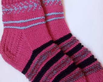 Hand Knitted Wool Socks -Colorful for Women - Size Large-US W9,5/EU41