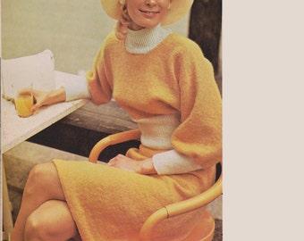 Women's Dolman Sleeve Sweater and Skirt Set - Vintage Knitting Pattern - 1970's original - Wide-Sleeved Sweater Set (73B15)
