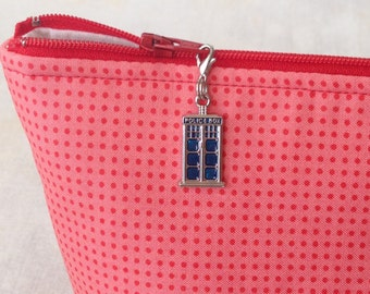 Police Box Zipper Charm, Police Box Pull