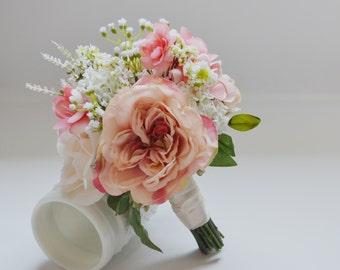 Blush and Ivory Bridesmaid Bouquet, Flower Girl Bouquet, Garden Bouquet