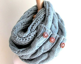Infinity Scarf with Buttons Braided Cable Lightweight Knit Neckwarmer Loop Circle Scarves Fall Winter Women Girls Accessories