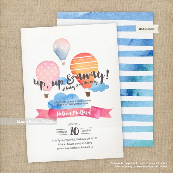 Hot air balloon baby shower invitation/ watercolor hot air balloon