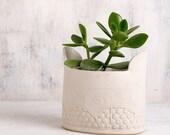 Ceramic planter, ceramic flower pot, Large Modern Vase, White pottery vase,Homedecor dots & spirals patterned Vase,valentine's day gift .