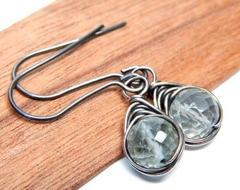 Green amethyst wire wrapped gemstone earrings, herringbone pale sage green drop earrings