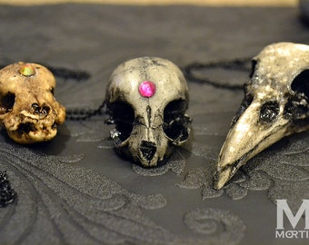 Animal-friendly Black and Grey kitten cat skull necklace pendant with fuchsia Swarovski crystal Mortiis.M