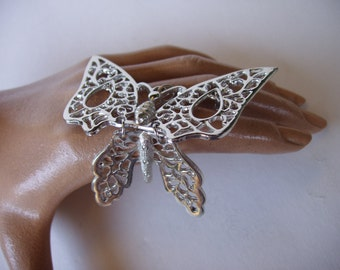 Butterfly Pendant . Articulated Silvertone Butterfly with Rhinestones . Groovy Jewelry