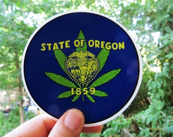 Oregon State Pot Leaf / Marijuana Legalized for Recreational Use / High Quality Vinyl Sticker
