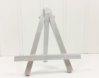 Small Silver Easel, Hand Painted Tabletop Mini Wood Easel for Table Sign Place Card Holder