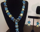 TWO PIECE SET-Turquoise Bohemian Chic Beaded Necklace and Earring Set by Mich Rich (Bohemian Wrapsody Collection) Bracelet not included)