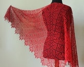 Hand knit linen shawl - red - femine lace shawl
