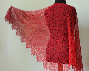 Red lace shawl - ellegant summer wrap- hand knit shawl