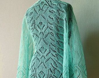 Lace shawl - beaded mint linen shawl- ellegant wrap
