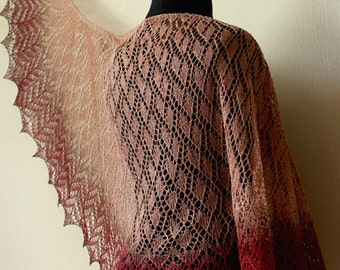 Hand knit linen shawl - ellegant wrap - latte+cherry+chocolate colors
