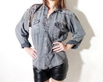Vintage Levis Western Denim Shirt M