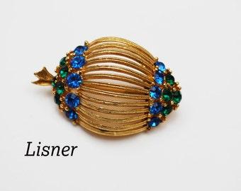 Lisner Blue Green  Rhinestone  Brooch