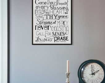 Come Thou Fount, Hymn Art, Music Quote Print, Hymn Print, Hymn Wall Art, Music Art Print