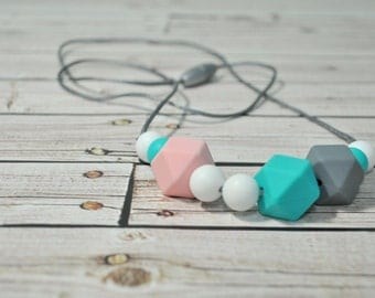 Silicone Teething Necklace - Silicone Nursing Necklace - Chew Jewlery - Nursing Necklace