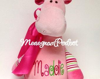 Personalized Plush Pink Striped Giraffe Stuffed Animal