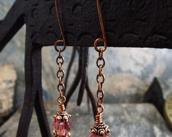 Watermelon Pink Czech Glass and Copper Dangle Earrings