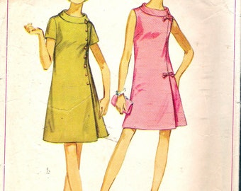 """Vintage 1969 Simplicity 8159 Jiffy Dart Fitted Dress in Half Sizes Sewing Pattern Size 14 1/2 Bust 37"""""""