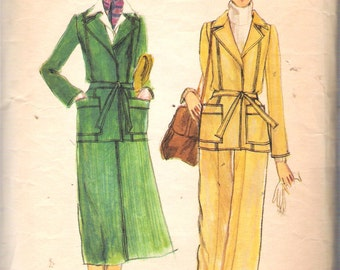 Vintage 1970's Vogue 9322 Misses Jacket, Skirt and Pants Sewing Pattern Size 14 Bust 36""