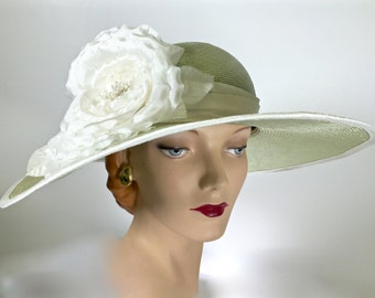 Women's Green Straw Hat,  Wide Brim Summer Hat, HANDMADE by MAKOWKSY MILLINERY