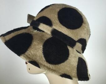 Vintage Long Hair Women's Felt Hat, Vintage Cloche Hat