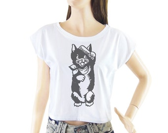 Retro Cat Kitten women top crop shirt cropped tee