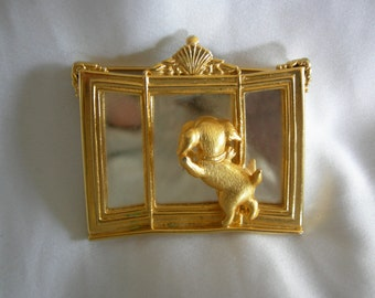 Dog in Mirror Brooch | Signed JJ JONETTE | Gold Tone Metal | Vintage