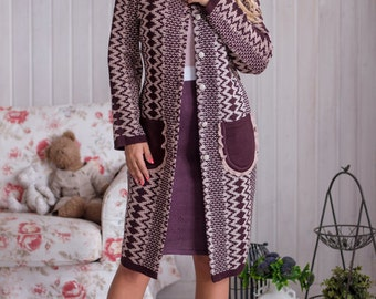 """Stylish knitted jacquard coat """"Cinnamon"""" with patch pockets"""