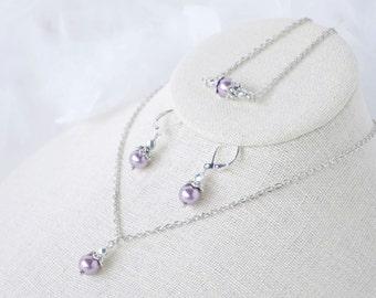 Bridesmaid Sets Purple Pearl Necklace Earrings Bracelet Gift