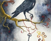 Heart Strings & Raven Wings: Fine Art Bird Print
