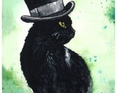A Very Fine Hat: Fine Art Watercolour Black Cat Print