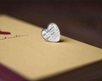 Jane Eyre and Mr Rochester Antiqued Bronze Adjustable Book Page Heart Ring Charlotte Bronte