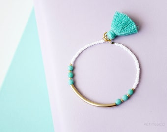 turquoise tassel bar bracelet - 14kt gold filled or sterling silver, dainty layering bracelet - bohemian jewelry / gift for her