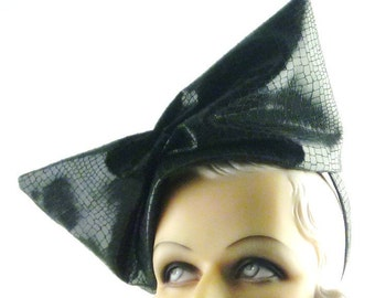 Womens Hat Black Faux Snake Skin Leather Bow Handmade Hat Church Hat Derby Ascot Races Cloche Headpiece Art Deco Custom Made for Each Client
