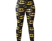 SALE Batman DC comic super hero  Yellow and Black Bat Wing Leggings pants TIGHTS plus size