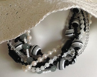 Multi Strand Torsade Statement Necklace, Black and White Acrylic Beads, White Pearls, .925 Sterling Silver Lobster Clasp