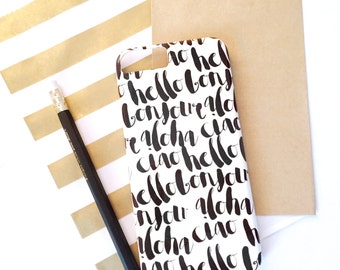 Bonjour Hello Aloha Ciao iPhone / Samsung Case - Customize Color - Gift, International, Tech Accessory, Modern, Calligraphy, Chic
