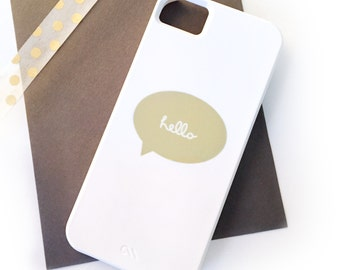 "SALE - Cursive ""Hello"" Talk Bubble Barely-There iPhone 5 Case in Kiwi Green (In Stock & Ready to Ship) - Whimsical, Gift, Tech Accessory"