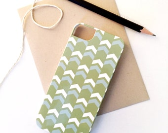 SALE - Tribal Arrow iPhone 5 / 5S Case inKiwi & Island Blue - Ready to Ship - Gift for Her, Tech Accessory, Geometric, Chevron
