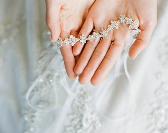 Bridal Headband- FLORA, Thin Crystal Tiara Headband, Swarovski Crystal Bridal Ribbon Headband, Wedding Headband, Diamante Headband