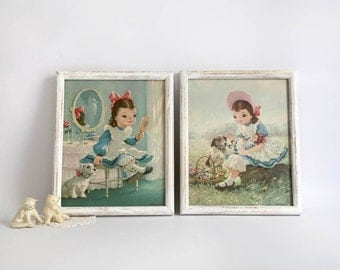 Vintage Helene Pessl Framed Lithographs, Girls Bedroom Decor, Mid Century Girls Room Wall Art, Play Time, Party Time Cottage Chic Girls Room