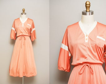 Sunny Peaches Dress / 1970s pastel bowling dress / 70s peach henley day dress