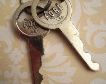 Vintage Ford Silver Auto Door Key Assemblage Mixed Media Altered Art Jewelry Upcycle Keys Repurpose
