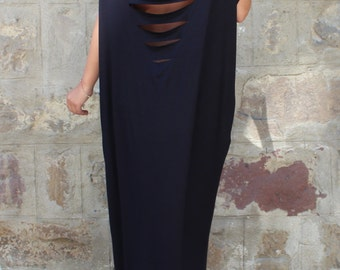 Black Caftan, Maxi Dress, Backless dress, Plus size dress, Oversized dress, Open back dress, Summer dress